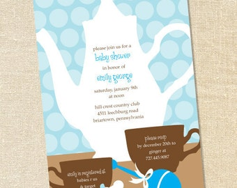 Sweet Wishes Blue Polka Dot Tea Pot Baby Shower Invitations - PRINTED - Digital File Also Available