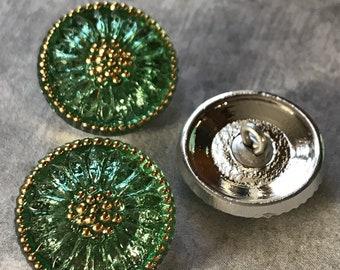 Czech pistachio Daisy Button,18mm Czech Glass Button, 18mm Button, Daisy Button,  Czech Glass Daisy, Czech Glass Buttons, green glass button