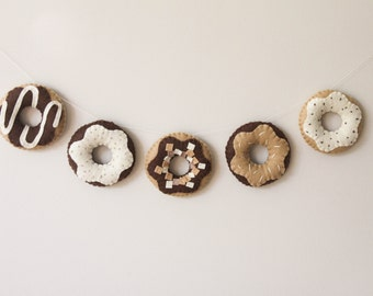 Felt Food, Garland, Chocolate Donut, Doughnut, Play Kitchen, Play Pretend, Baby Nursery and Childrens Decor, Baby Shower Gift