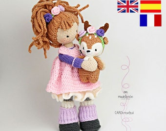 Crochet pattern for doll MIA & deer LAYLA (Deutsch, English,  Español, Nederlands, Français)