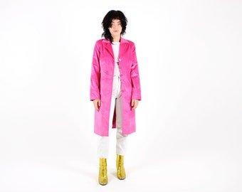 "Y2K 90s PLUSH Textured Hot PINK Fuschia Futuristic Avant Garde Long Full Length Trench Coat Jacket by ""Very Very"""