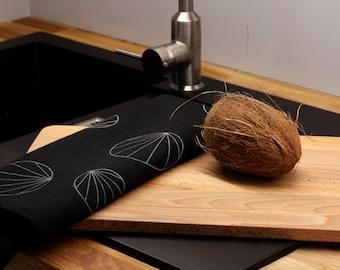 Essuie mains géométrique en lin noir  - Torchon noir en lin