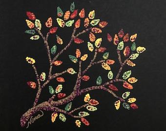 "Dot Pointillism Acrylic Whimsical tree 8""x8"" black board, dot pointillism art, yellow, green, blue, brown, dot pointillism original artwork"