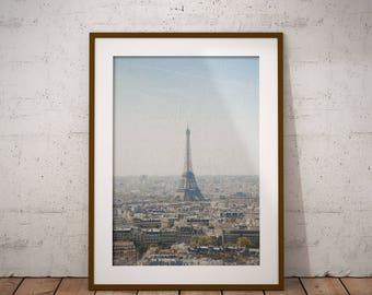 Eiffel Tower Contemporary Printable, Eiffel Tower Print, Paris Wall Art, Bedroom Decor, Digital Download, Modern Minimalist,Bedroom Wall Art