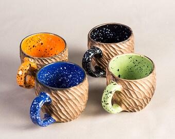 Tazza ceramica tazza grande tazza rustica, tazza colorata, tazza galassia, tazza arancione, tazza blu, tazza nera, tazza verde, tazze da tè