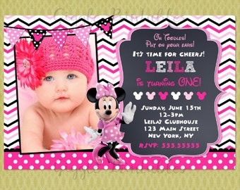 Minnie Mouse Birthday Invitations, Minnie Invitations, Minnie Birthday Invitations , Minnie Mouse Invitations