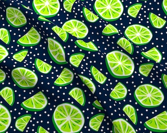 Green Summer Citrus Fabric - Citrus Lime By Uramarinka - Summer Citrus Fruit Cotton Fabric By The Yard With Spoonflower
