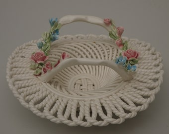 Vintage Weaved Blanc De Chine Reticulated Basket