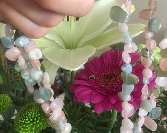 Necklace Wonderful Morganite Multistrand 3 Lines Freen Blue Pink