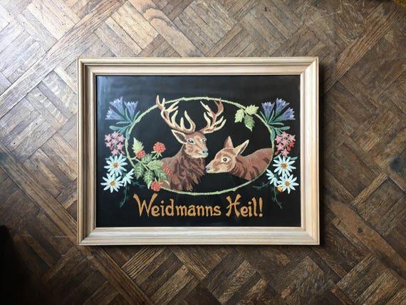Vintage Embroidery On Velvet, Weidmann Heil German Good Hunting Embroidered Picture, Framed Deer Buck Flowers Hunting Folk Art