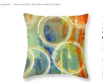 Orange Abstract Pillow   Throw Pillow Cover   Colorful Pillow   Cushion   Designer Pillows   Decorative Pillow   Abstract Circles   Gift