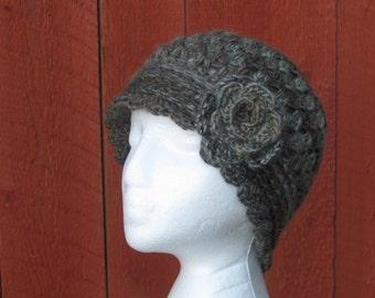 Woman Crochet Cloche Hat, Handmade Crochet Hat, Crochet Hat with Flower, Vintage Style Hat
