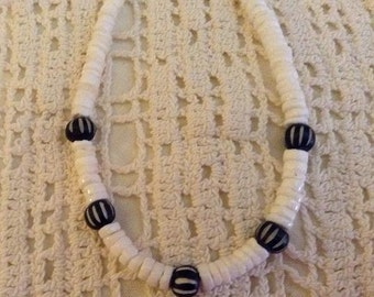 White Heishi Shell and Black Bead Necklace