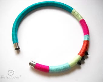 Etnich Open Choker in Blue and Fuchsia for women Freedom Necklace for her African minimal jewelry cuff neck for birthday gifts to sisters