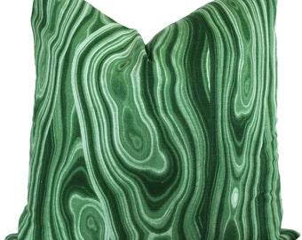 Green Malachite Pillow Cover, Robert Allen 18x18, 20x20, 22x22 or lumbar - Accent Pillow - Throw Pillow Toss Pillow, Pillow cushion
