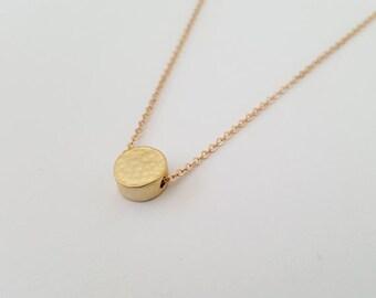 Gold Disk Necklace, Solid Disk Necklace, Solid Round Necklace, Hammered Gold Disk Necklace, Goldfilled Neckalce, Christmas Gift