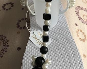 Black & White Handmade Embellished Flip Flop
