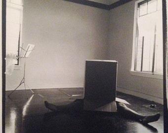 Handprinted B&W Silver Gelatin Photographic Original Art bw - Girl in Box #1