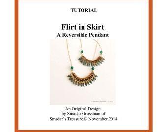Beading Tutorial, Flirt in Skirt - Reversible Pendant. Beading Pattern with Two Hole Dagger Bead. Beadweaving Pattern by Smadar Grossman