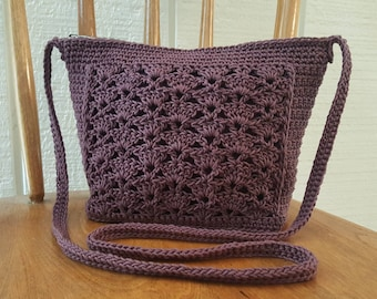 Crochet Crossbody Bag Purse Mauve Purple Lined Zipper Closure Pockets Silver Hardware
