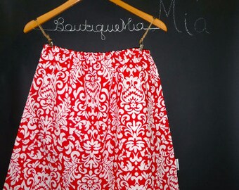 Sample SALE - Will fit Size S/M - Ready to MAIL - A-line SKIRT - Red and White Damask - by Boutique Mia