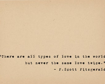 F Scott Fitzgerald Quote - Literary Art Quote Print - 1920s Flapper Writer Quote - Great Gatsby Author Typewriter Quote