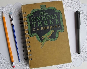 mixed media junk journal, The Unholy Three, spiral bound smash book