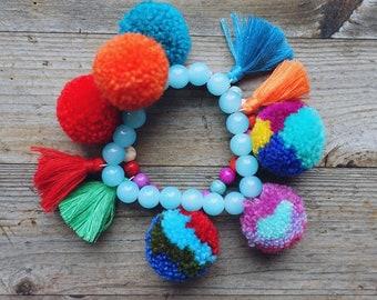 Bohostyle bracelet , pompoms bracelet, bohostyle, ibiza style,