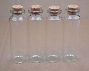 10pc clear glass bottles with cork top, Glass Jar Vial Charm Pendants,75x22mm.