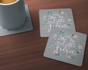 Though She Be But Little Coasters, She is Fierce Quote Coasters, Shakespeare Quote Coasters, Grey Linen Look, Cork Backed Coasters Set of 4