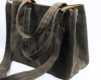 Waxed Canvas City Tote, Crossbody Messenger Purse,  Shoulder Strap Bag, Vegan Leather by WhiteCross Designs;  MGX TOTE ships from USA