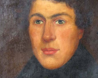 Antique portrait painting young gentleman oil on canvas 19th c for restoration