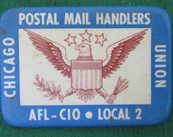 Original 1970's Chicago Postal Mail Handlers Union Pin Back Button - Free Shipping