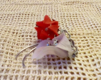 Vintage  1980 delicate Red flower on a white leaf with rhinestones