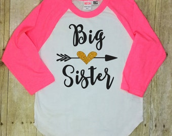 Big Sister Shirt-Big Sister Announcement Shirt-Size 12-Pregnancy Reveal Shirt-Baby Announcement-Raglan Sleeve Shirt-Made in the USA