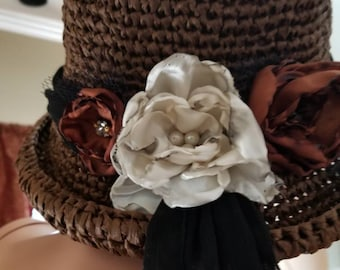 Rafia straw hat. Unique , handmade