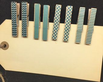Mini Clothes Pins Spring Blues Shabby Chic Trendy Clothespins Spring Blue Decorative Clips Shabby Chic Memo Clips Chip Clips