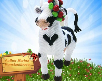 "Pattern / Tutorial Beaded Ornament -Master Class ""Cow Burenka Bead  """