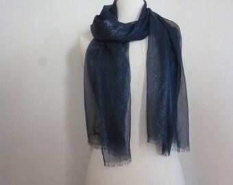 Navy blue silk chiffon scarf