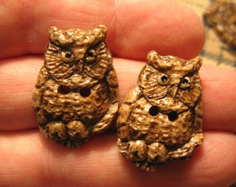 """Sewing & Needlecraft Supplies button"""" Horned Owl"""" carved antler reproduction handmade button screech owl collectible owl owl lover gift"""