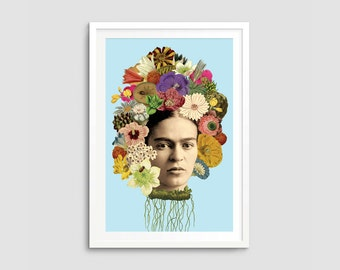 Collage Art Print: Frida Kahlo Art - Frida Kahlo Poster, Vintage Mixed Media, Feminist Art, Botanical Flowers, Mexican Art, Wall Art