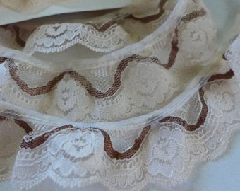 Lace Ruffled Pale Pink and Brown De stash Vintage Lace Supply 7 yards Two Tone Craft 70s sewing supply craft lace
