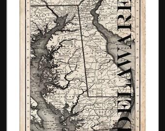 Delaware Map - Map of Delaware - Poster - Print - Sepia
