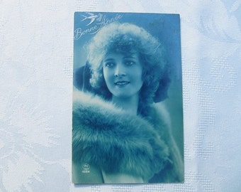 Happy new year french vintage postcard,   romantic lady  postcard