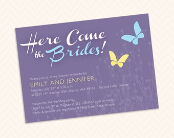 Lesbian Bridal Shower Invitation Design - LGBTQ Wedding - Two Brides - Here Come the Brides