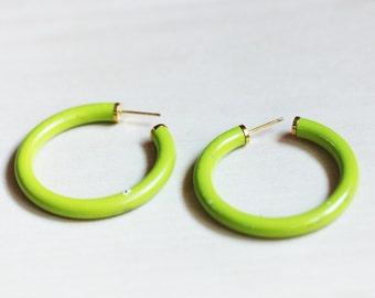 Lime Green Hoops, Hoop Earrings, Enamel Hoop Earrings