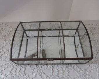 Vintage Mirrored Glass and Brass Trinket Box Display