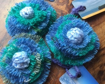 Harris Tweed Brooch/Corsage in Turquoise and Blue - ideal St Valentine's/Mother's Day Gift