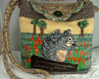 Felted Purse, Felted Handbag,Felted Squirrel,squirrel art,handmade knitted purse