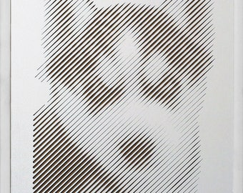 Man's best friend / Artistic decorative wall art with optical illusion / Luxury / Gift / Line Halftone